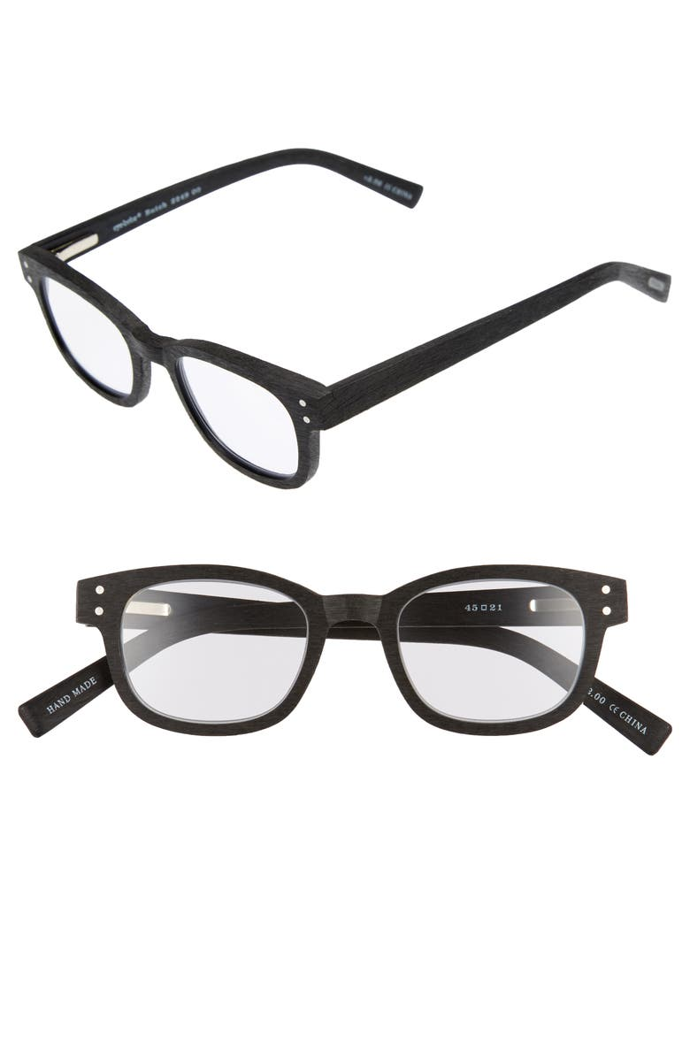 EYEBOBS Butch 45mm Reading Glasses, Main, color, MATTE BLACK WOODGRAIN