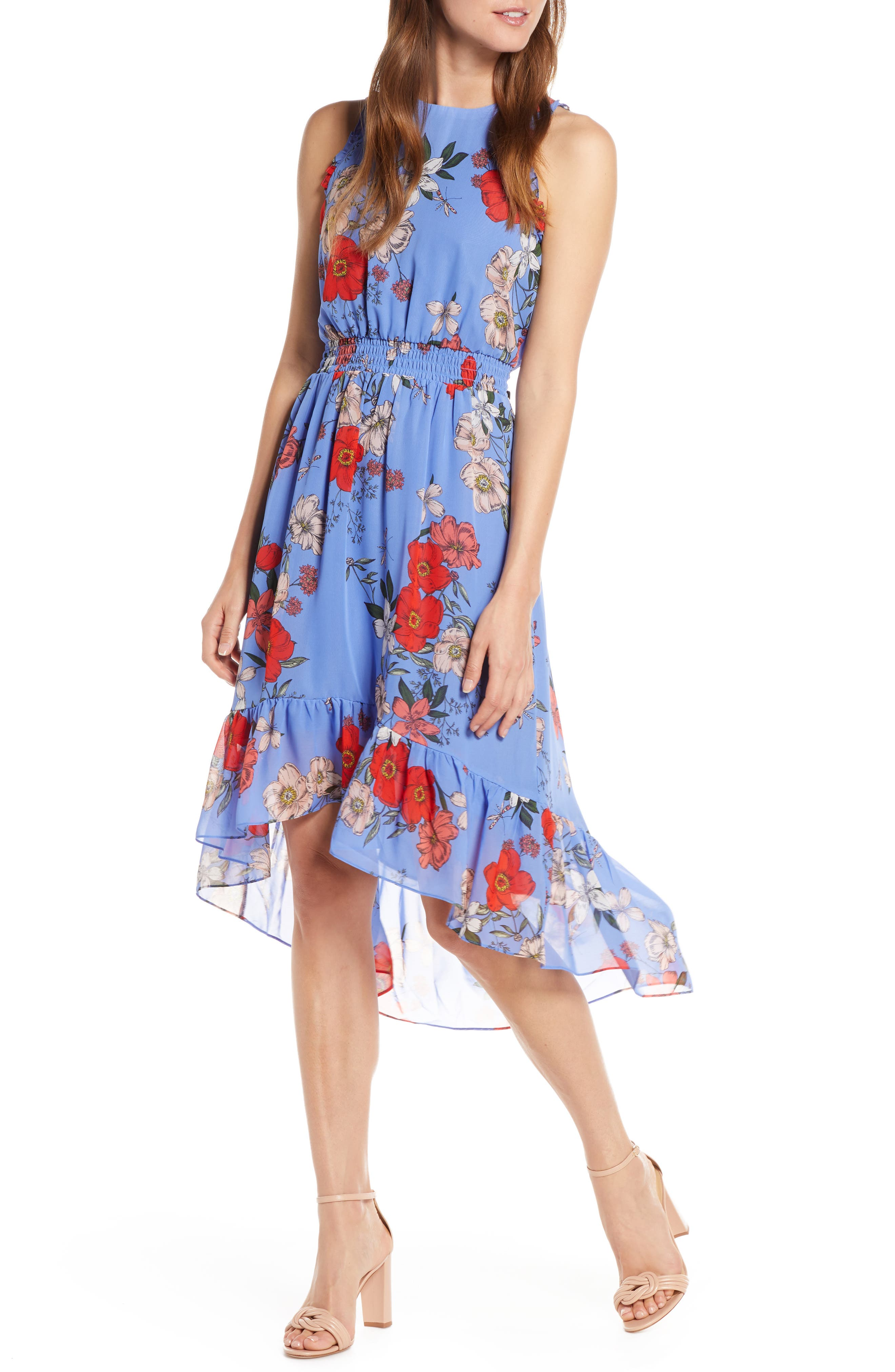 Vince Camuto Floral Chiffon High/low Dress, Blue