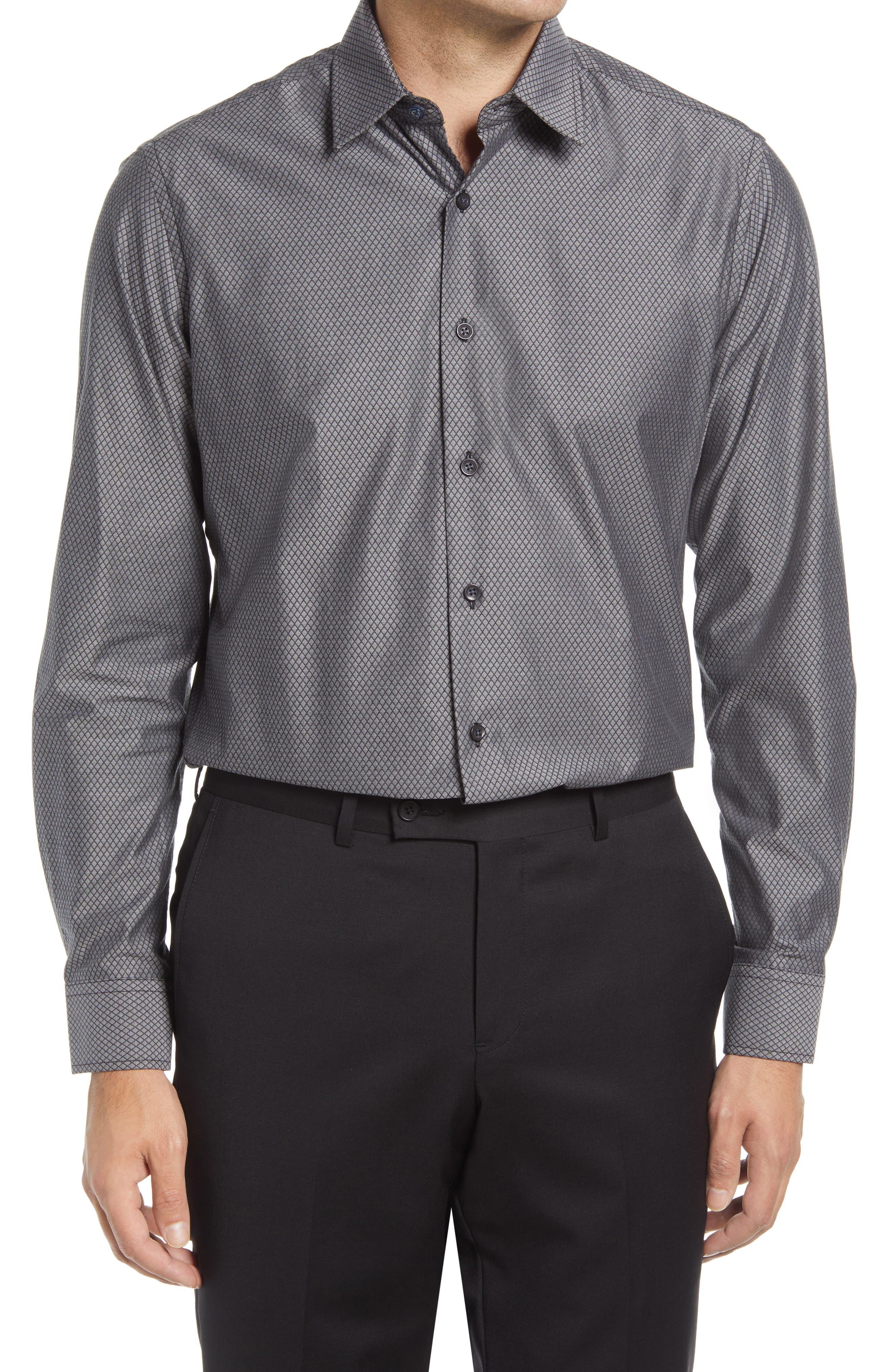Men's Tailored Fit Diamond Dress Shirt