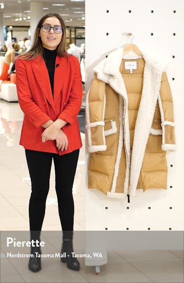 Hooded Faux Shearling Down Coat, sales video thumbnail