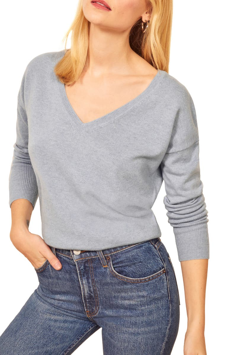 REFORMATION Sadie Cashmere Blend V-Neck Sweater, Main, color, CELESTINO