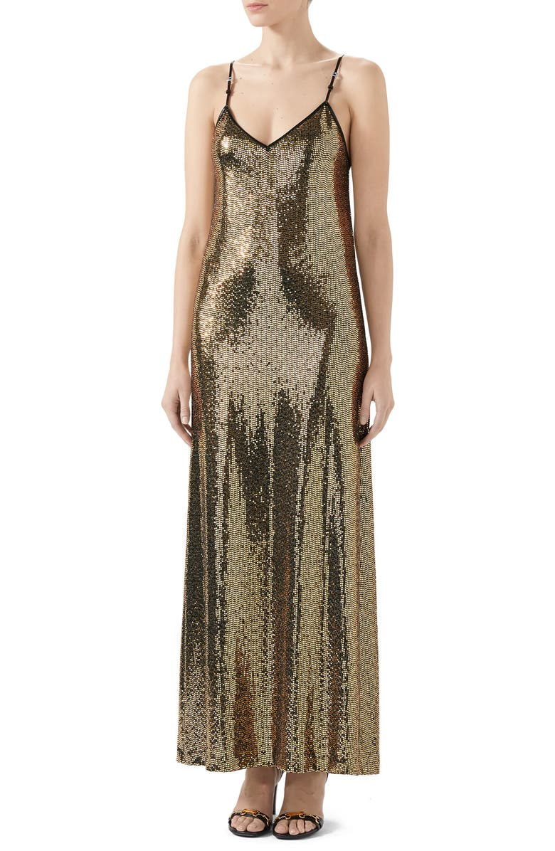 GUCCI Square-G Buckle Metallic Dot Jersey Gown, Main, color, 1815 BLACK/ GOLD
