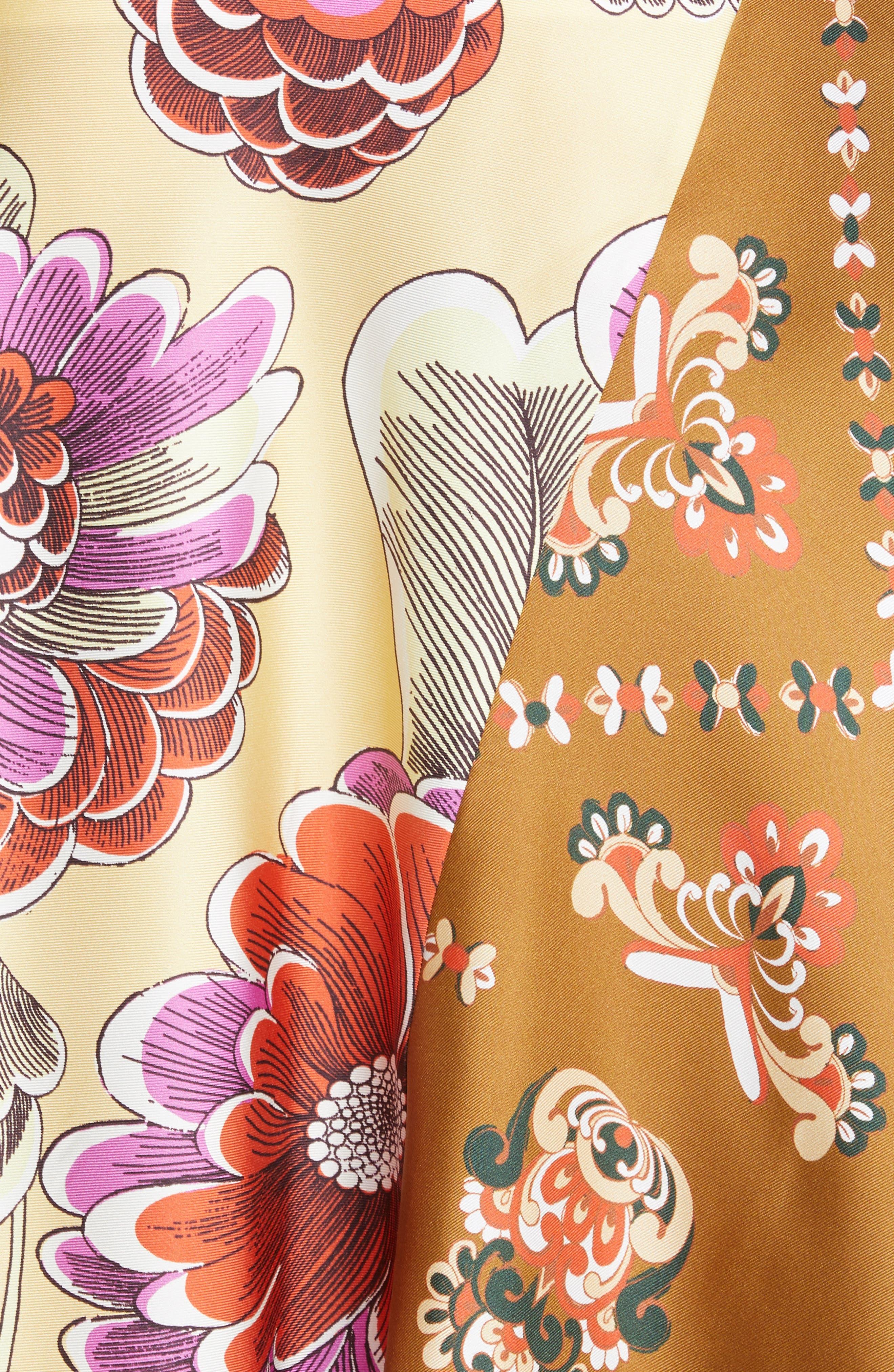 ,                             Mixed Print Bias Cut Silk Skirt,                             Alternate thumbnail 5, color,                             3ZA-MULTICOLOR GREEN 1