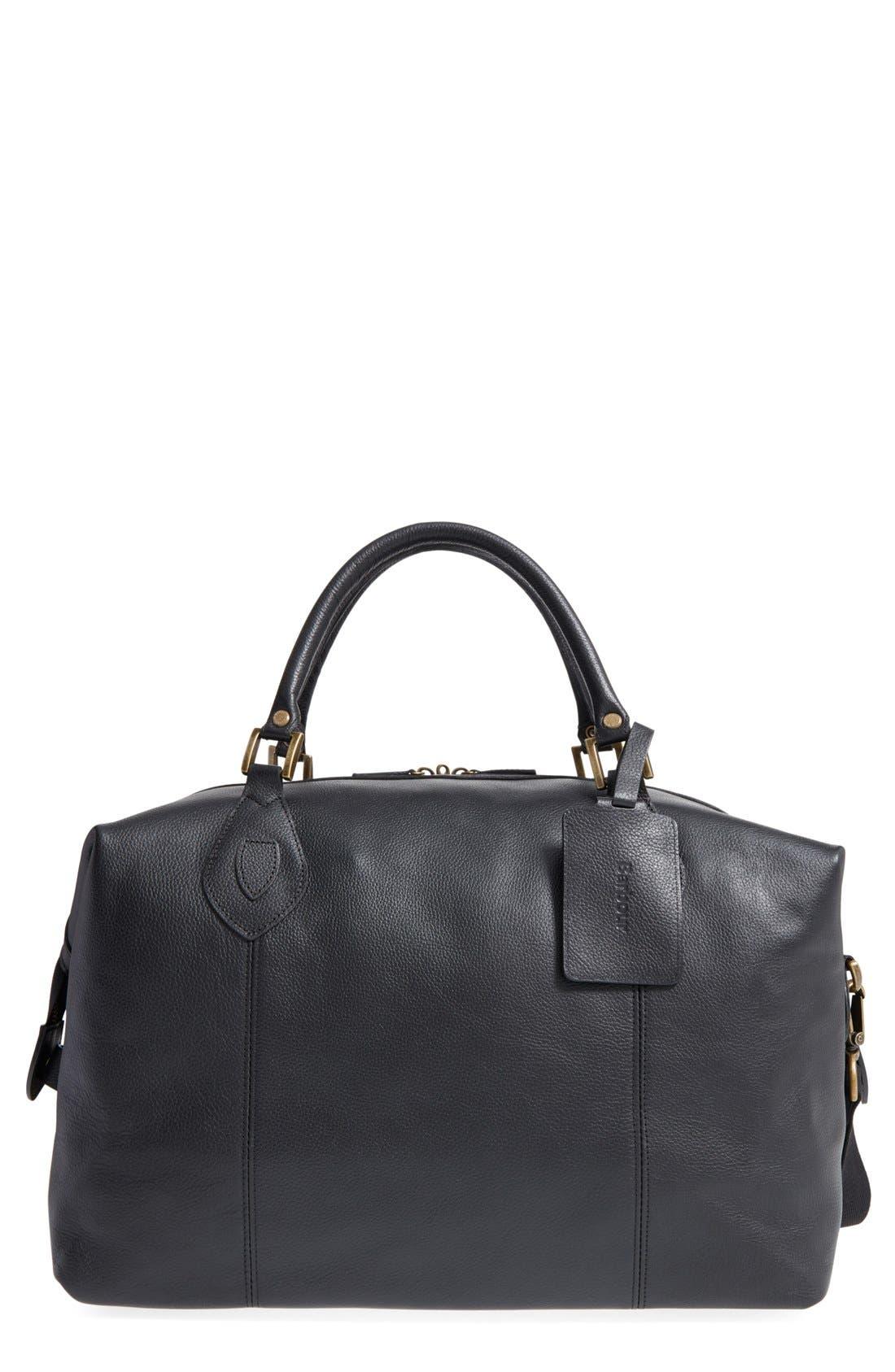 Leather Duffle Bag, Main, color, BLACK