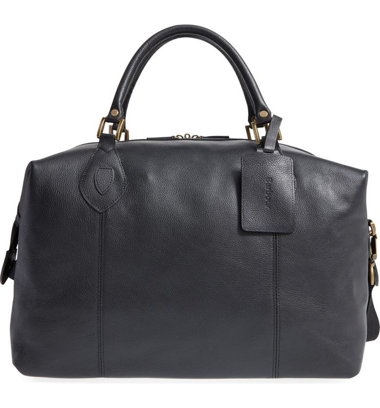 BARBOUR Leather Duffle Bag, Main, color, 001
