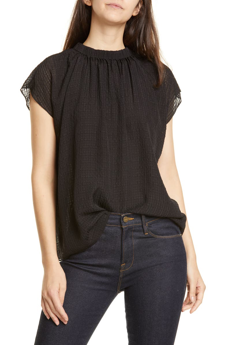 LEWIT Gathered Silk Top, Main, color, BLACK