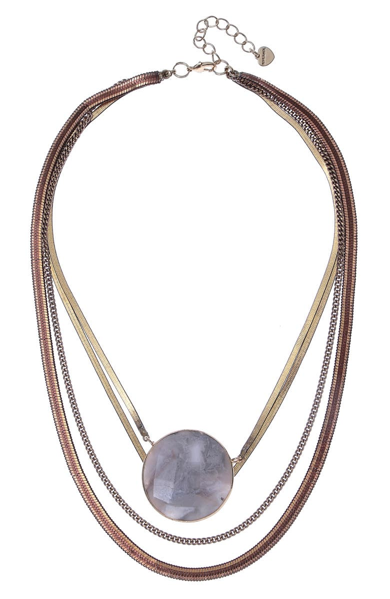 NAKAMOL CHICAGO Layered Pendant Necklace, Main, color, LAKE AGATE MIX WHITE