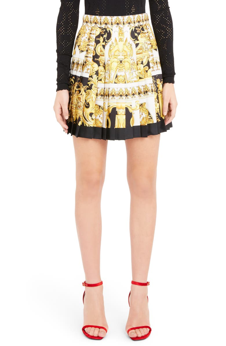 VERSACE Stamp Print Pleated Silk Skirt, Main, color, YELLOW
