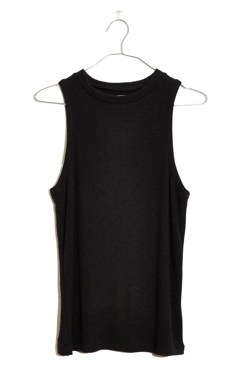 MADEWELL Bouclé Tank, Main, color, TRUE BLACK