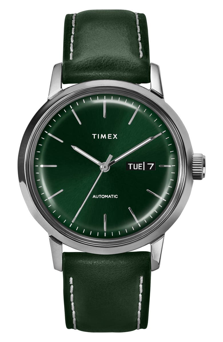 TIMEX<SUP>®</SUP> Marlin Automatic Leather Strap Watch, 40mm, Main, color, GREEN/ SILVER
