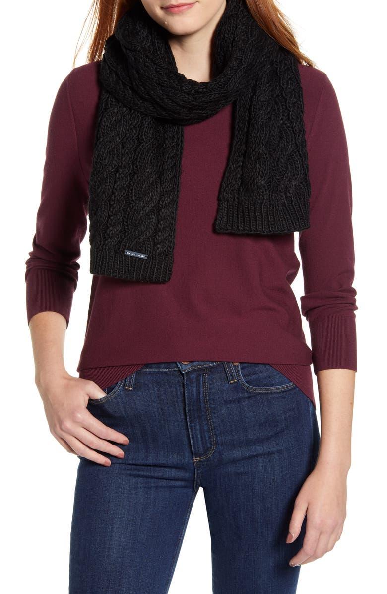 MICHAEL MICHAEL KORS Cable Knit Scarf, Main, color, BLACK/ HP SILVER