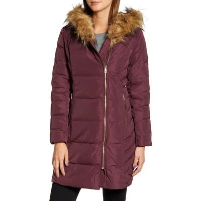 Cole Haan Feather & Down Puffer Jacket With Faux Fur Trim, Burgundy