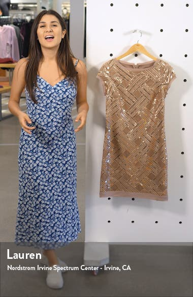 Lattice Pattern Sequin Sheath Dress, sales video thumbnail