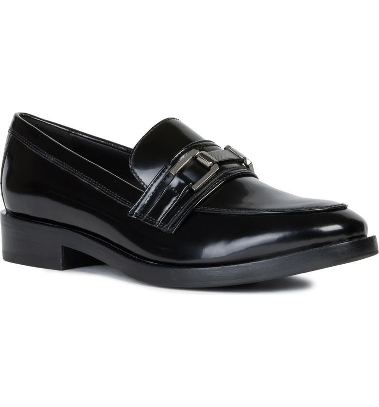 GEOX Brogue Loafer, Main, color, BLACK NAPPA LEATHER