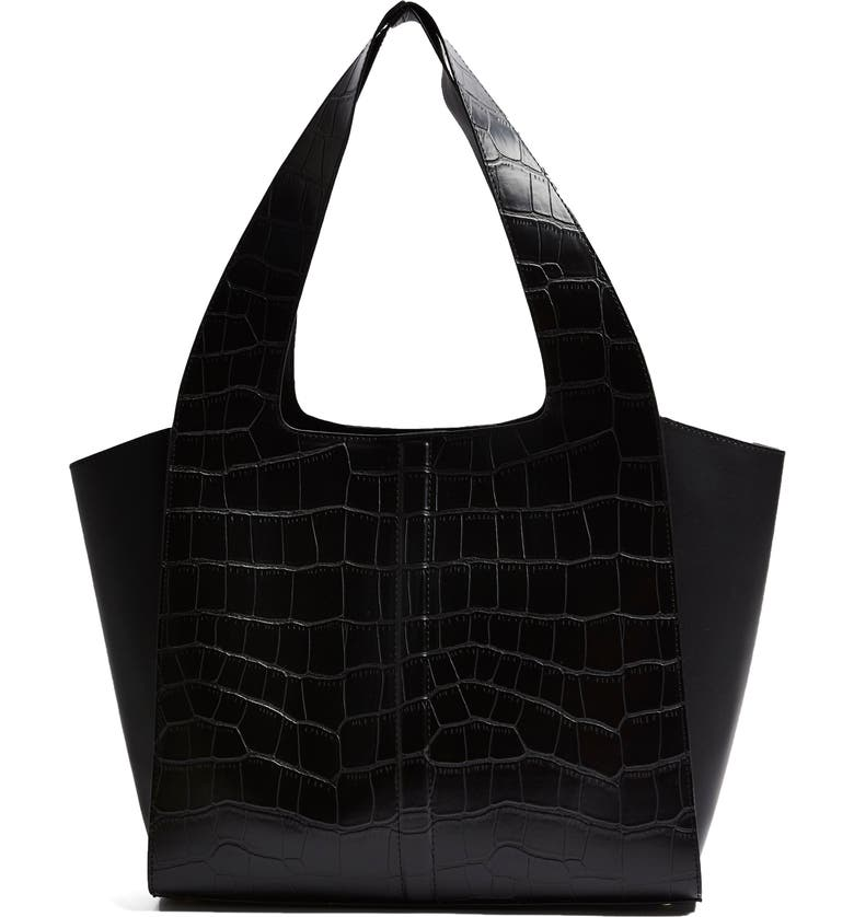 TOPSHOP Taylor Croc Embossed Faux Leather Tote, Main, color, 001