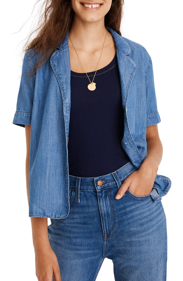MADEWELL Shrunken Denim Pajama Shirt, Main, color, WORN INDIGO WASH