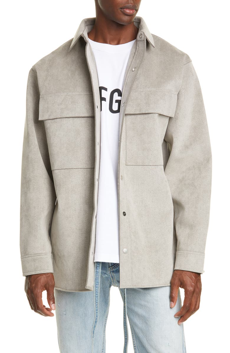 FEAR OF GOD Sueded Shirt Jacket, Main, color, HEATHER GREY