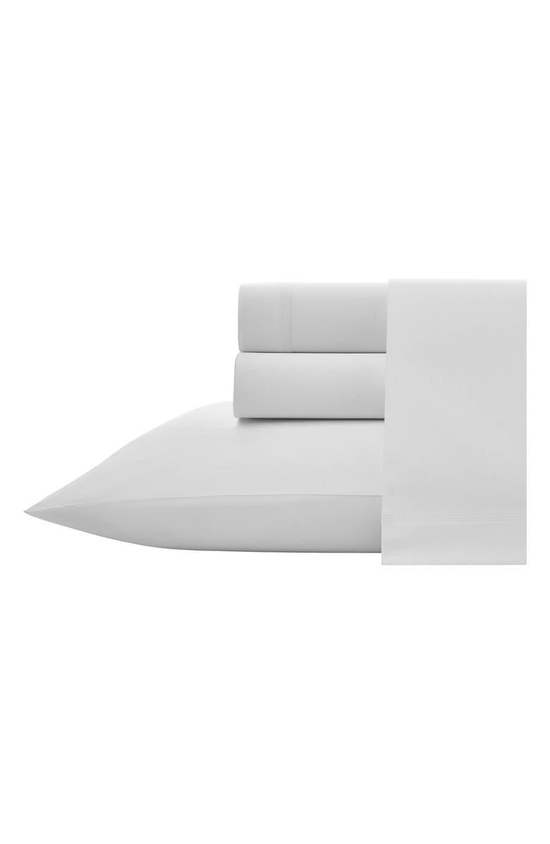 VERA WANG Triple Stitch 300 Thread Count Cotton Sateen Sheet Set, Main, color, WHITE