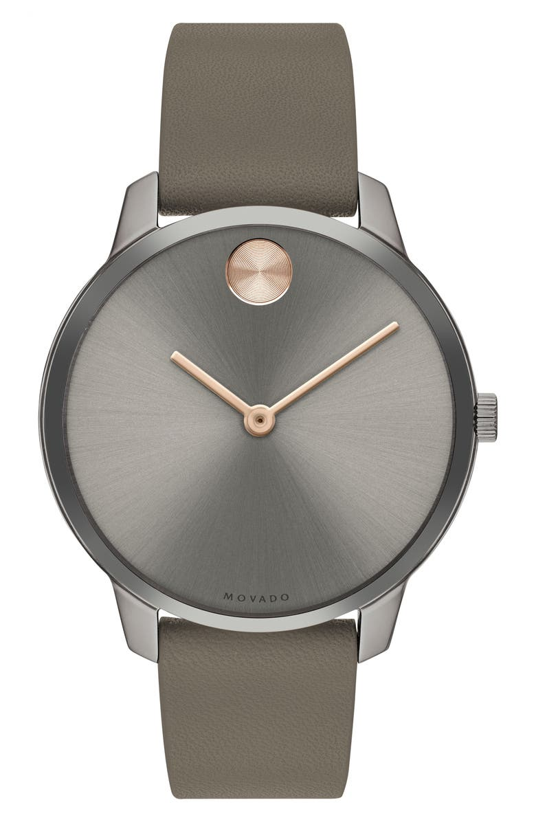 MOVADO Bold Leather Strap Watch, 35mm, Main, color, TAUPE/ GREY