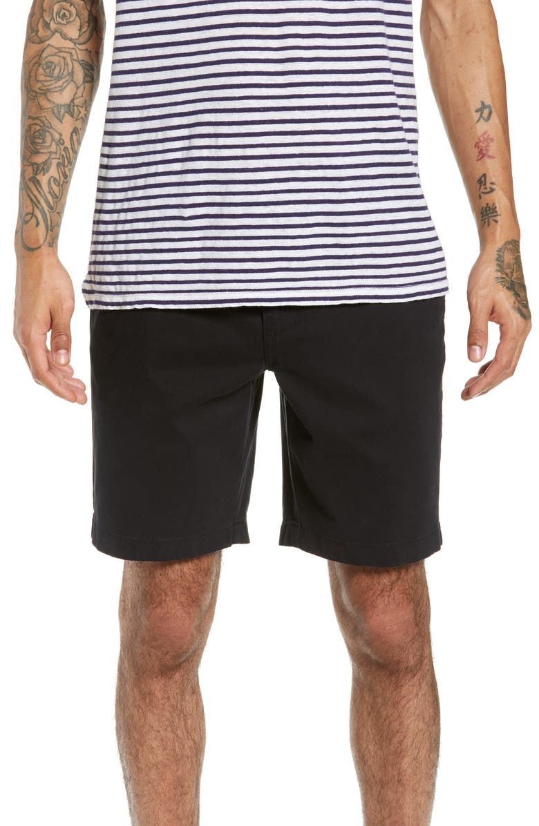 THE RAIL Twill Shorts, Main, color, BLACK ROCK