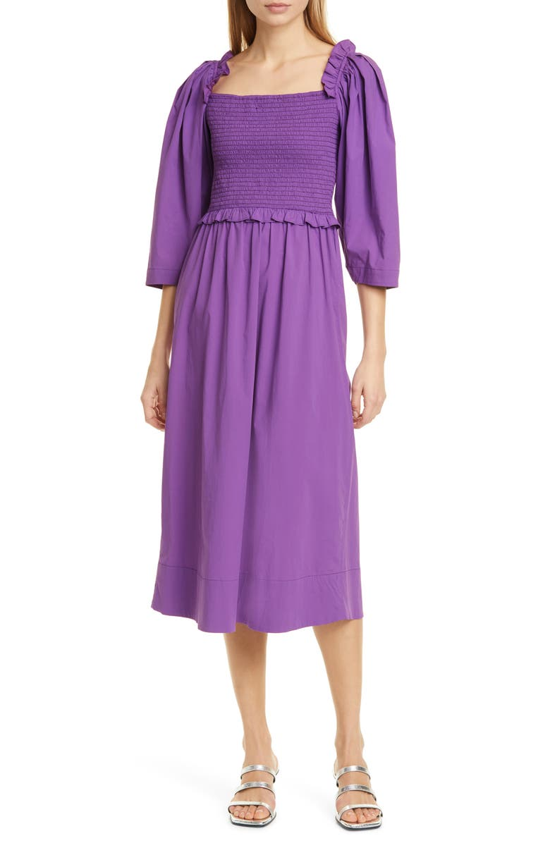 SEA Tabitha Ruffle Smocked Stretch Cotton Dress, Main, color, GRAPE