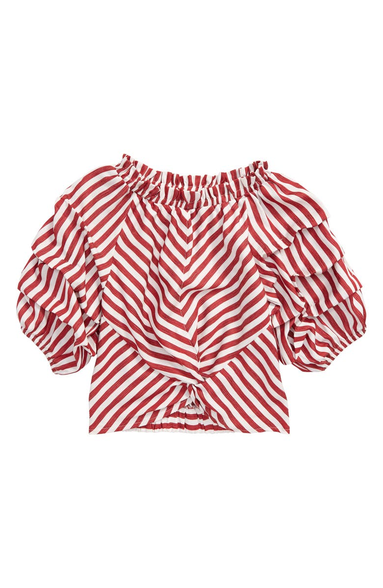 HABITUAL Ruched Sleeve Stripe Top, Main, color, RED