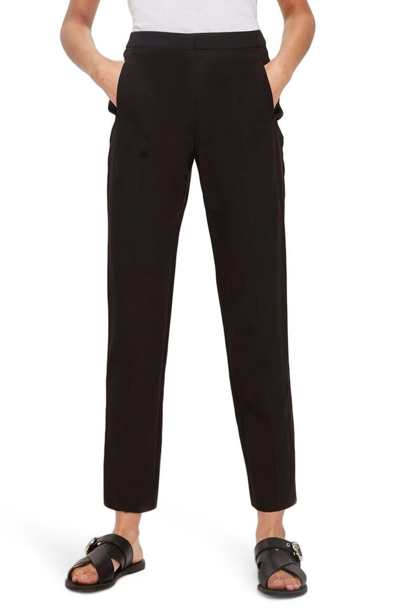 TOPSHOP High Waist Cigarette Trousers, Main, color, 001