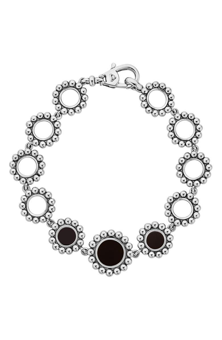 LAGOS Maya Circle Link Bracelet, Main, color, SILVER/ ONYX