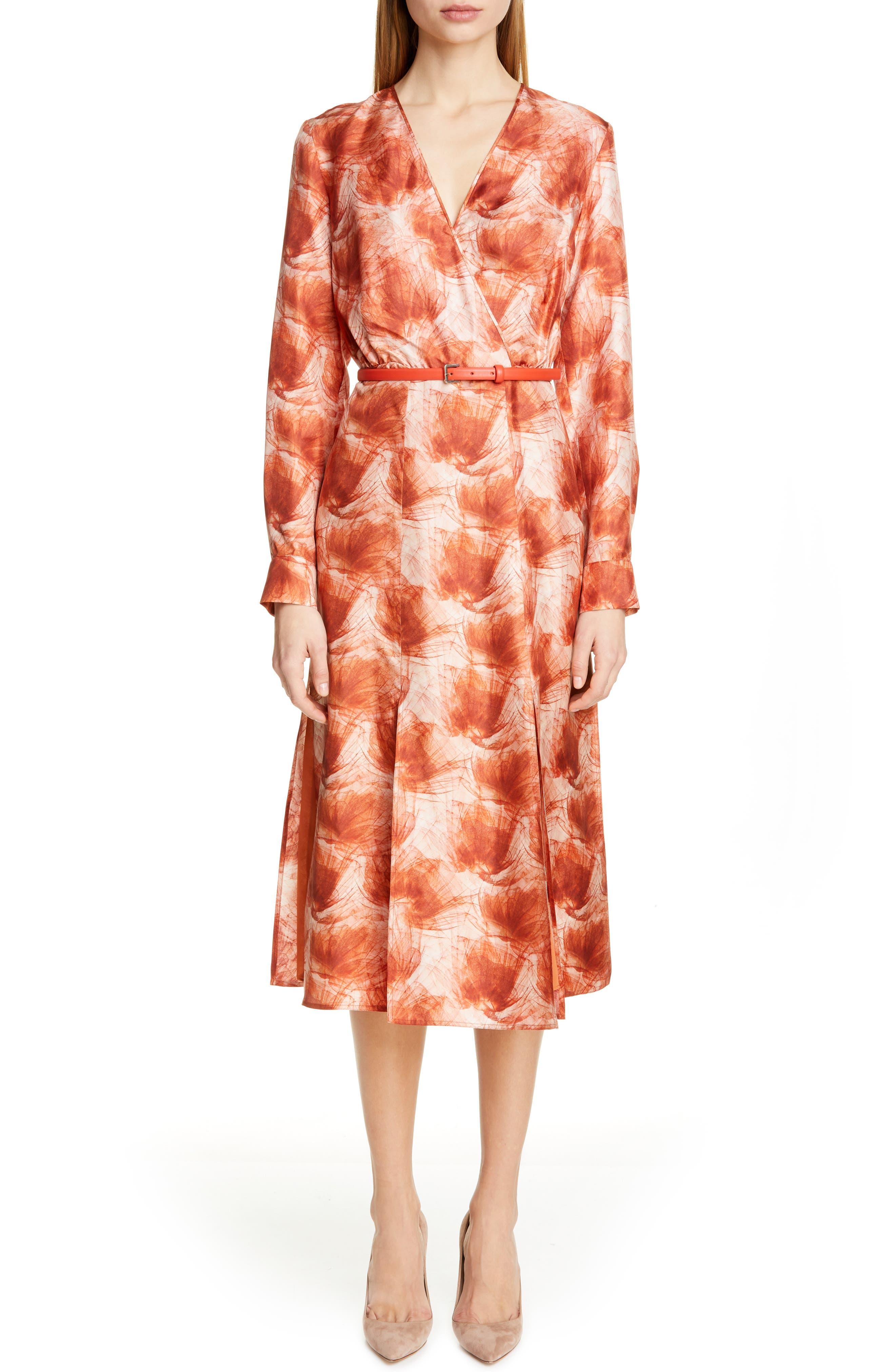 Max Mara Cenere Belted Long Sleeve Silk Dress, Orange
