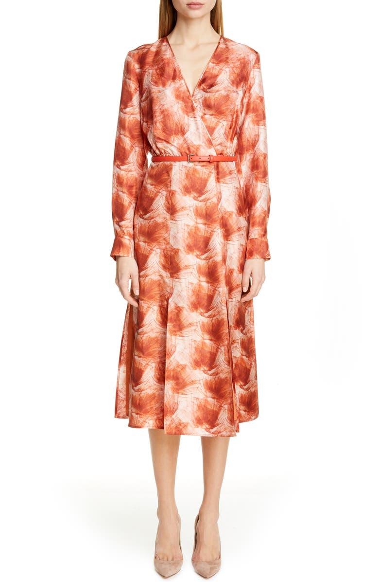 MAX MARA Cenere Belted Long Sleeve Silk Dress, Main, color, 814