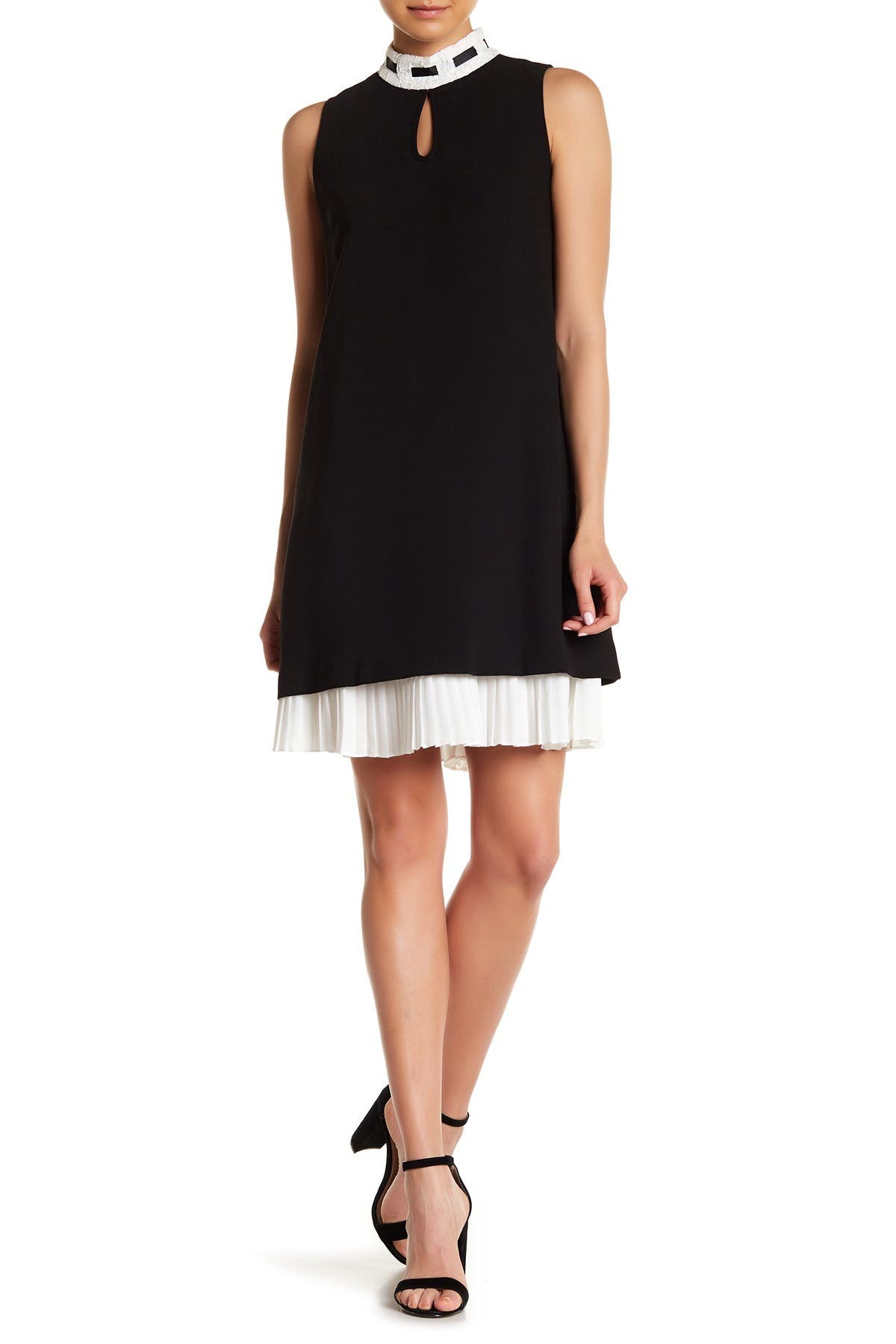 Image of Nanette Lepore Mock Neck Pleated Hem Dress