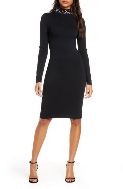 Eliza J Imitation Pearl Neckline Long Sleeve Sweater Dress In Black
