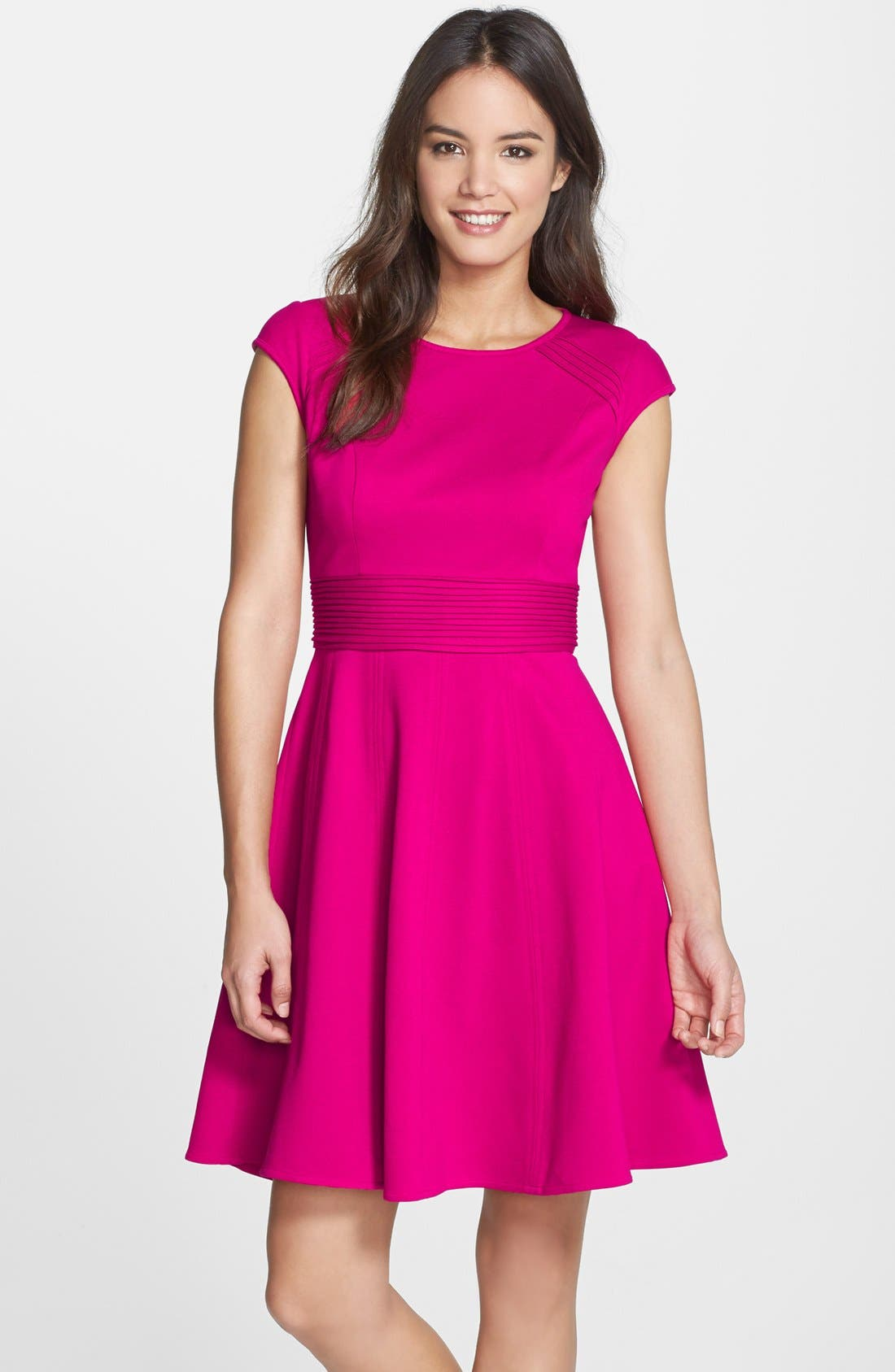 ,                             Pintucked Waist Seamed Ponte Knit Fit & Flare Dress,                             Main thumbnail 11, color,                             660