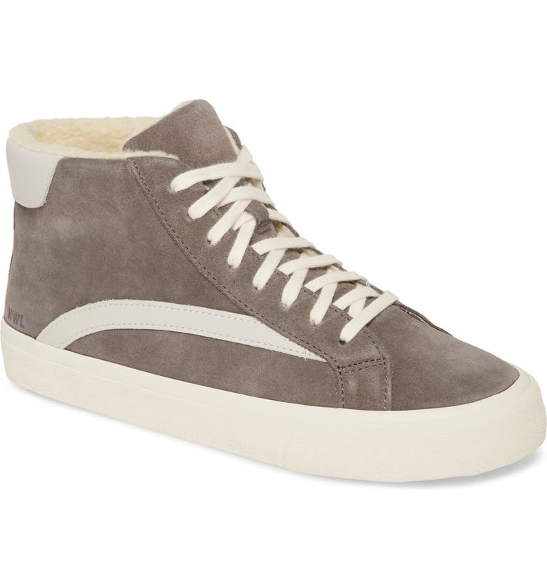 MADEWELL Sidewalk High-Top Faux-Shearling Lined Sneaker, Main, color, 020