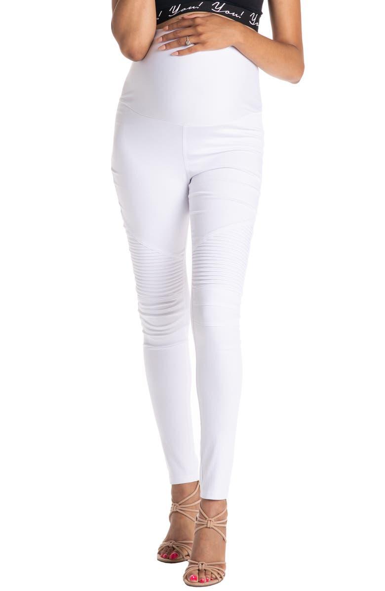PREGGO LEGGINGS Moto Maternity Leggings, Main, color, WHITE
