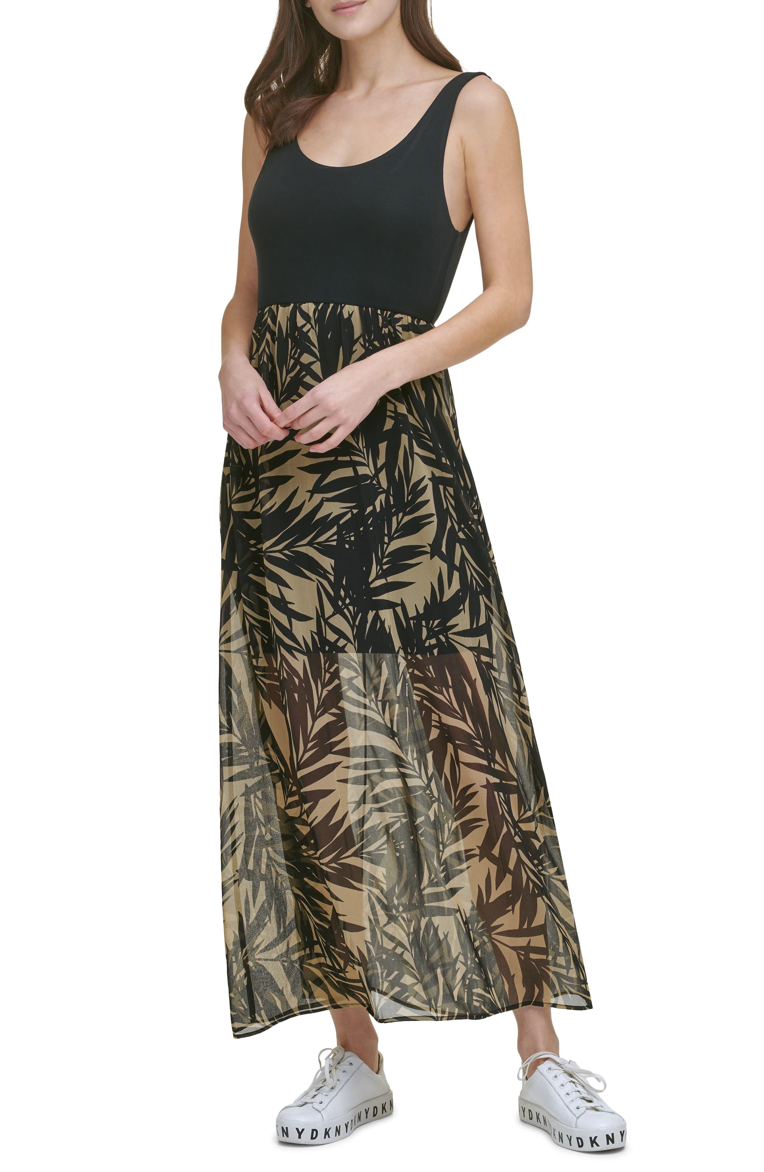 Tropical Print Mixed Media Dress