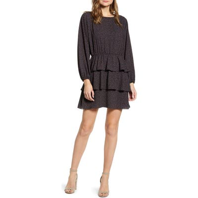 1.state Modern Speckle Ruffle Long Sleeve Minidress, Black