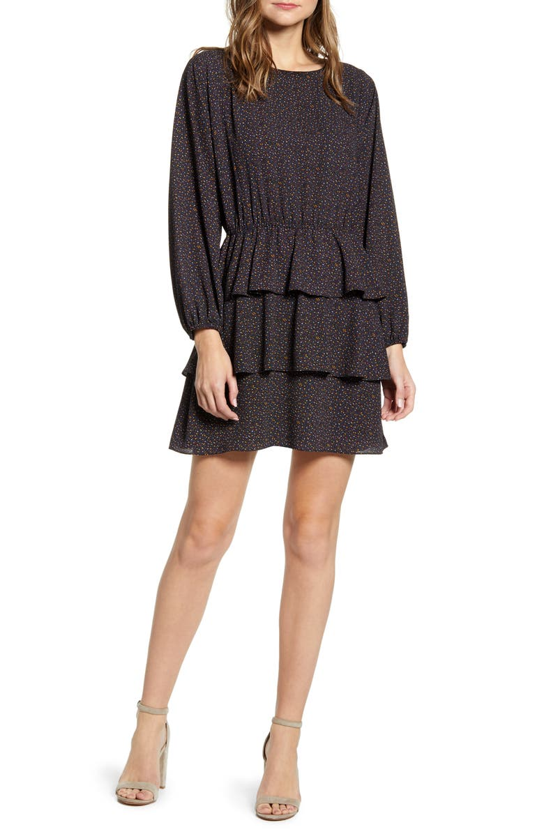 1.STATE Modern Speckle Ruffle Long Sleeve Minidress, Main, color, RICH BLACK