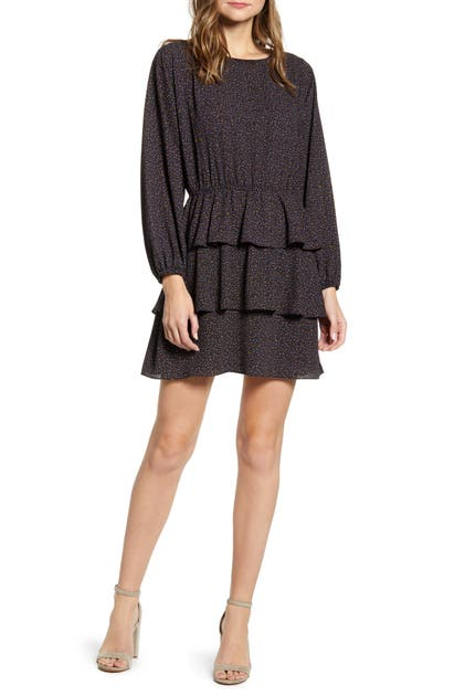 1.state Dresses MODERN SPECKLE RUFFLE LONG SLEEVE MINIDRESS