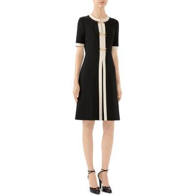 Gucci Horsebit Toggle Stretch Jersey A-Line Dress, Black