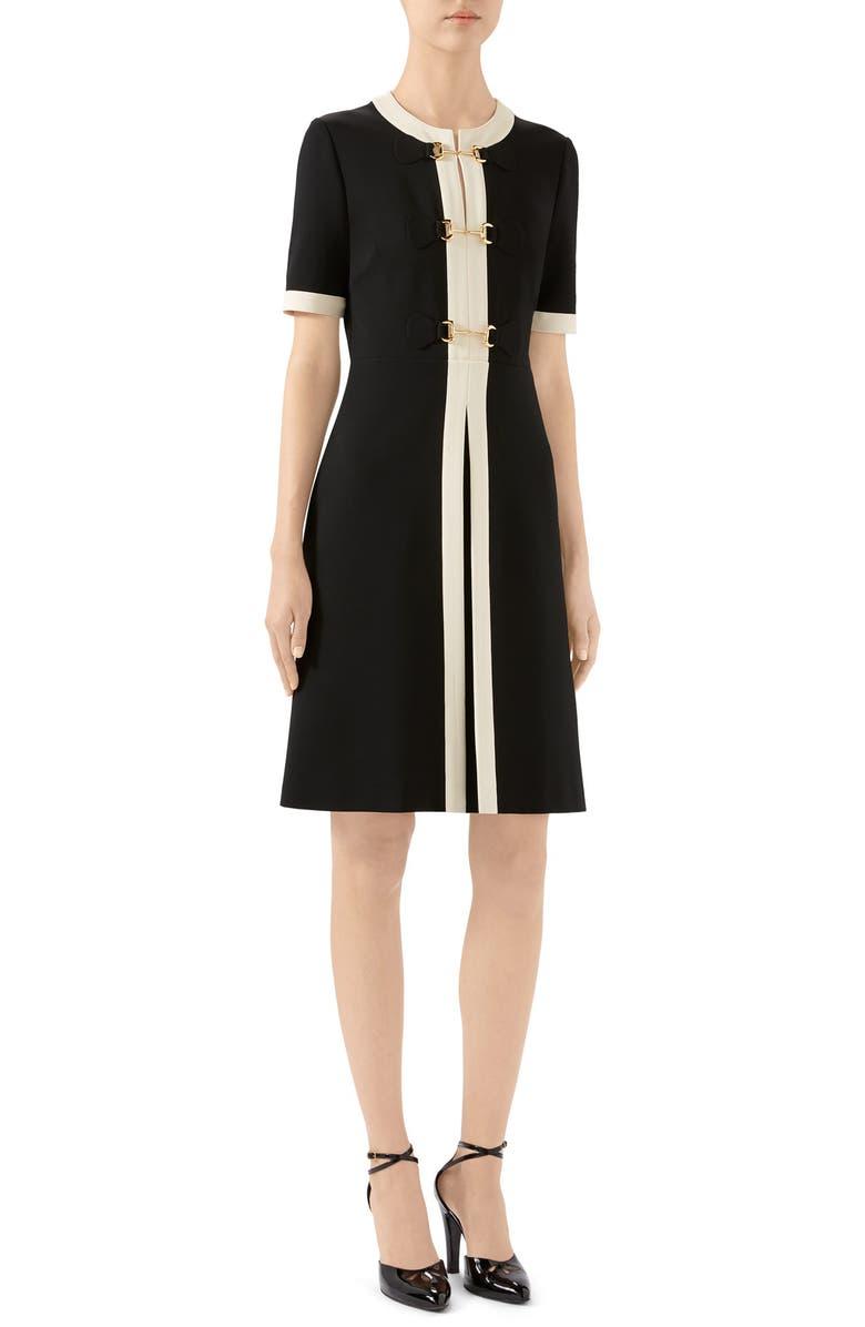 GUCCI Horsebit Toggle Stretch Jersey A-Line Dress, Main, color, BLACK/ ALMOND FLOWER