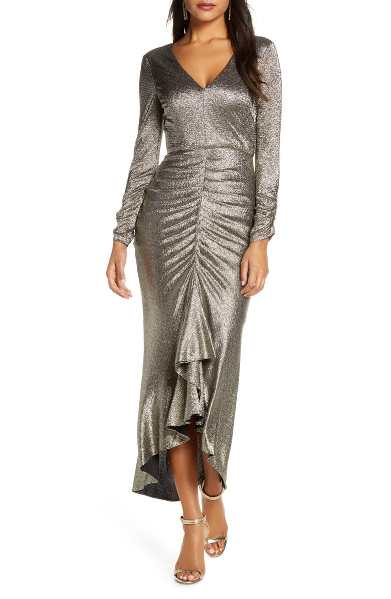 ELIZA J Metallic Long Sleeve High/Low Gown, Main, color, GOLD