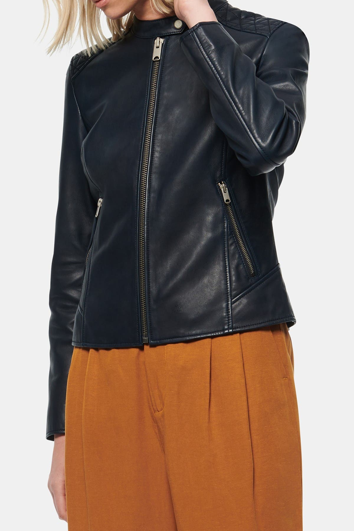 Image of Andrew Marc Goldie Racer Leather Moto Jacket