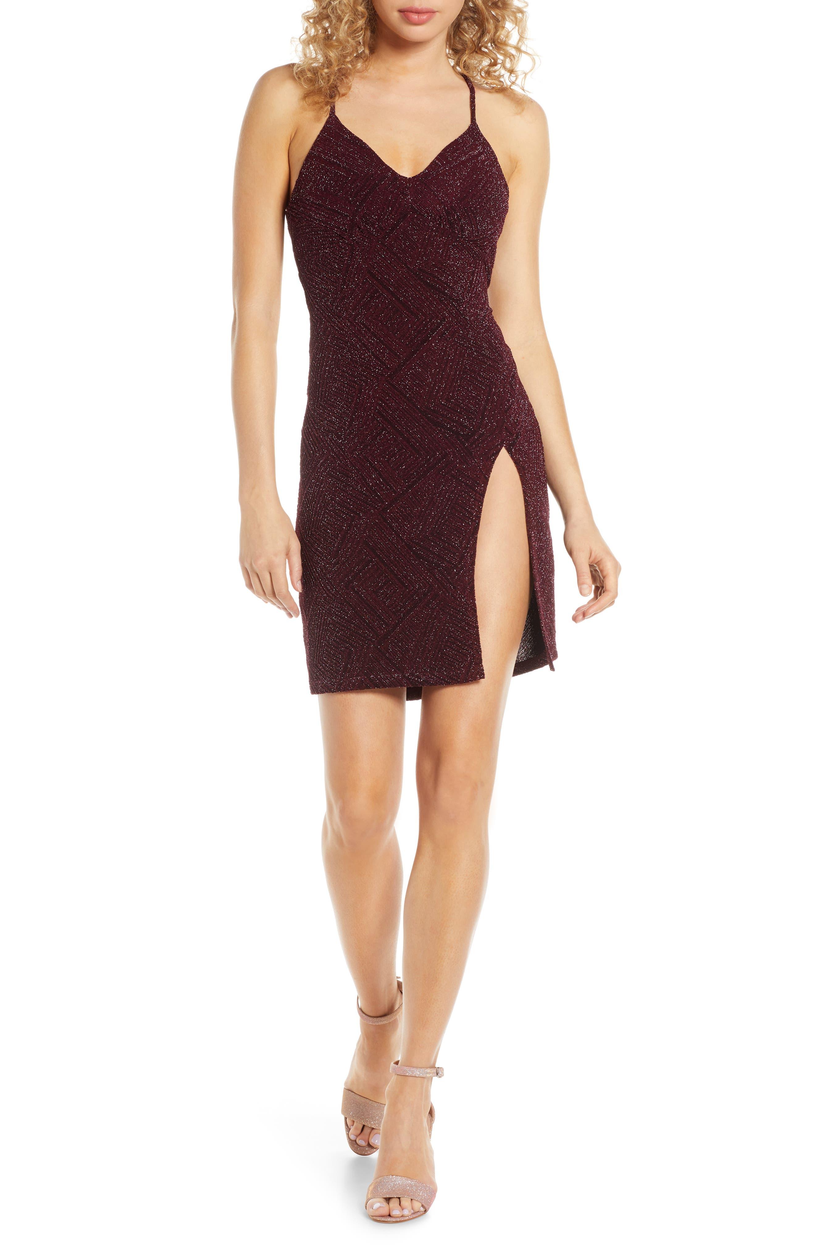 Sequin Hearts Glitter Body-Con Dress, Purple