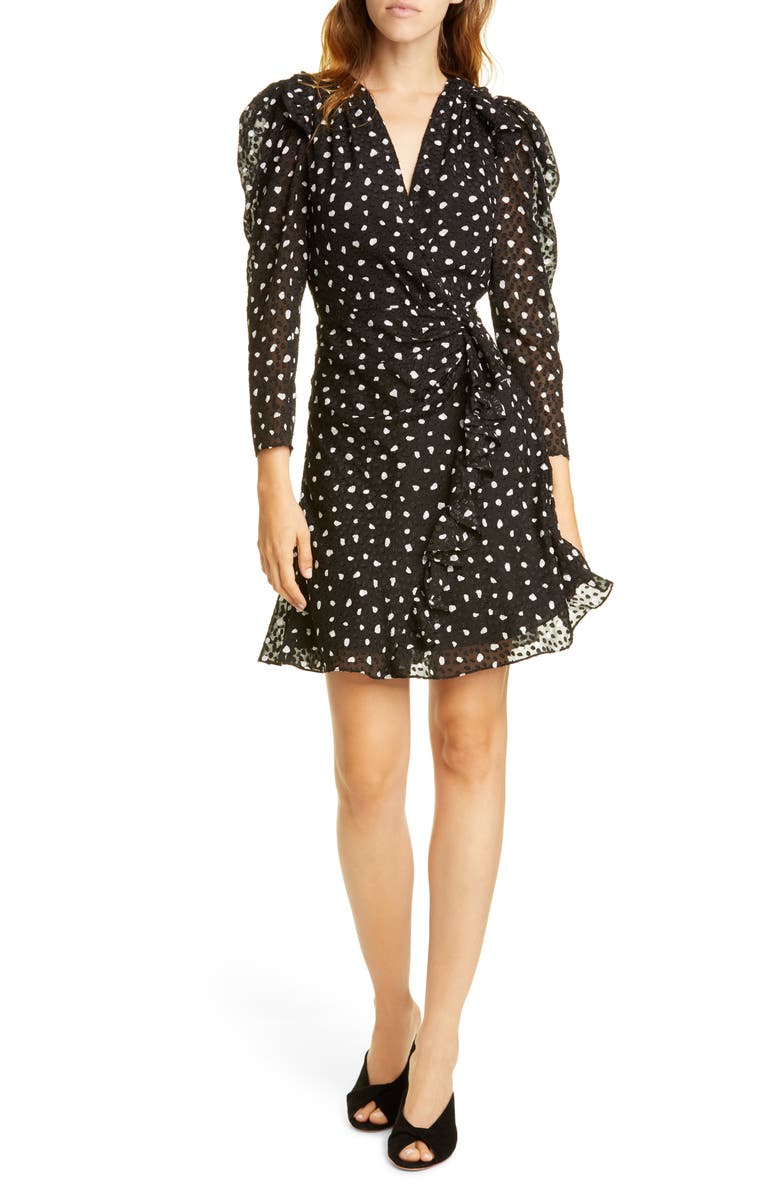 REBECCA TAYLOR Long Sleeve Dot Dress, Main, color, 001