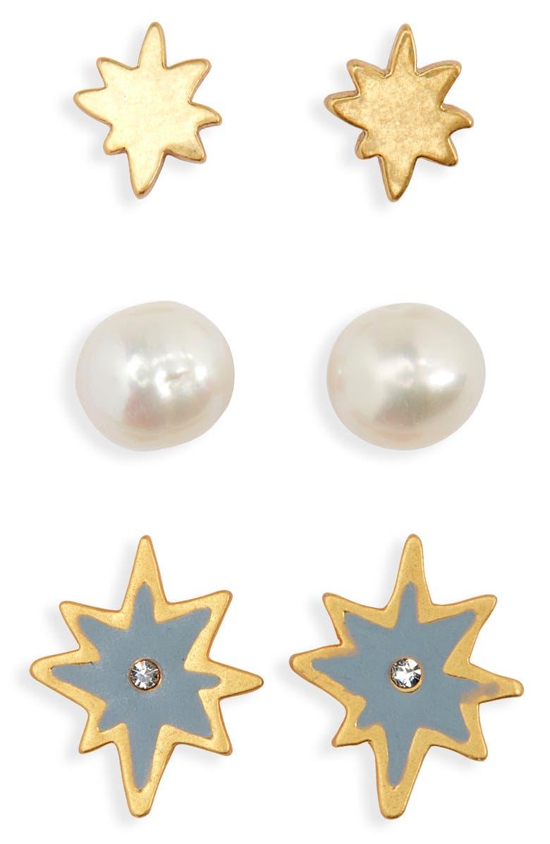 MADEWELL 3-Pack Starshine Stud Earring Set, Main, color, VINTAGE GOLD