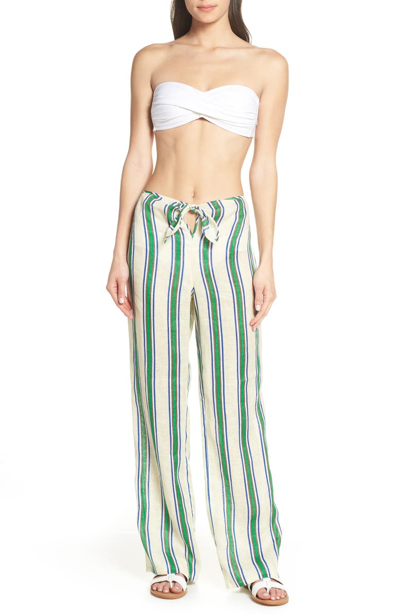 TORY BURCH Awning Stripe Beach Pants, Main, color, 300