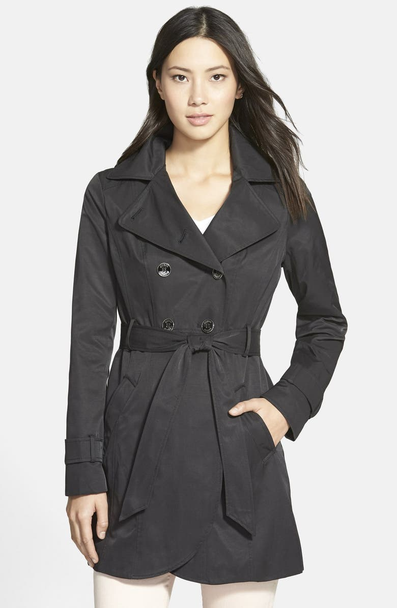 GUESS Double Breasted Trench Coat with Detachable Hood, Main, color, 001