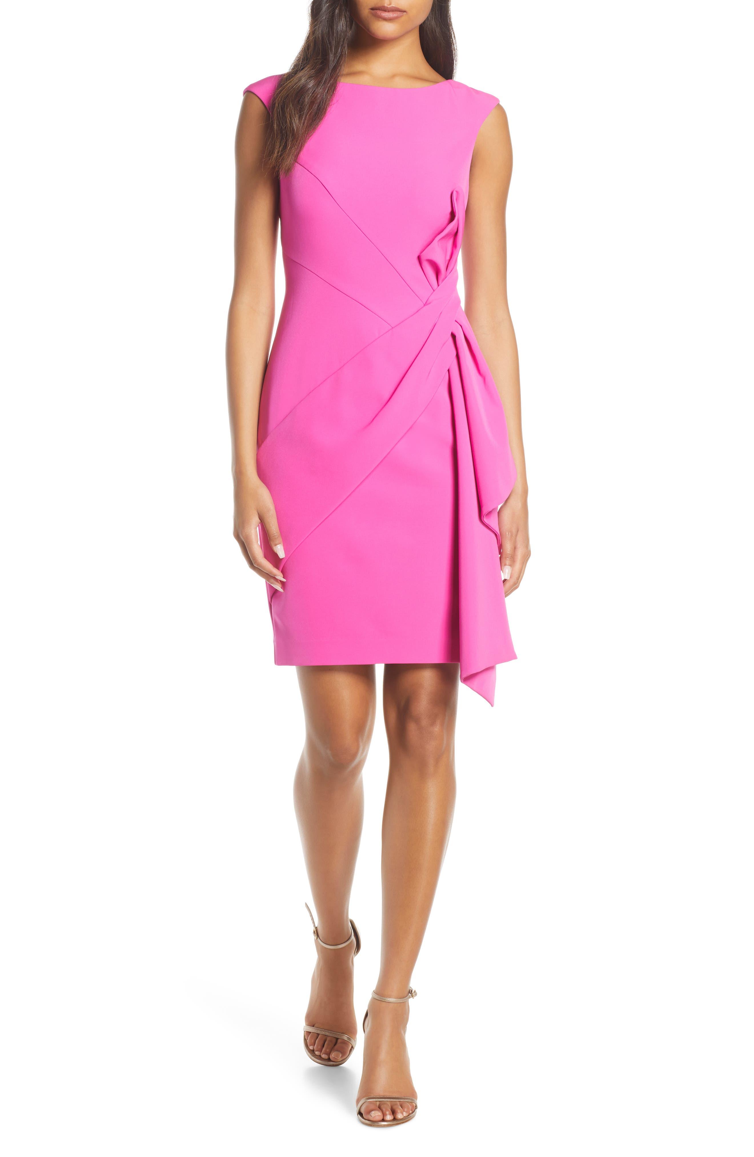 Eliza J Side Drape Laguna Crepe Cocktail Dress, Pink