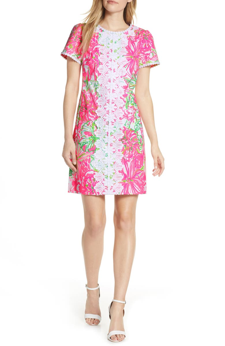 LILLY PULITZER<SUP>®</SUP> Maisie Stretch Piqué Shift Dress, Main, color, RESORT WHITE KOALA ME MAYBE